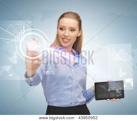 young businesswoman working with tablet pc and virtual screen