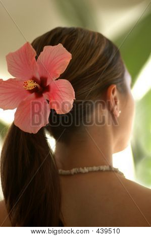 Woman Wearing Hibiscus Flower