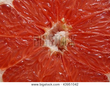 Close-up view of ripe red grapefruit