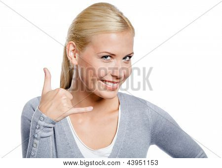 Girl gesturing phone call with hand, isolated on white