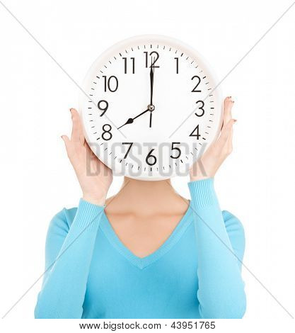 picture of businesswoman with clock over her face
