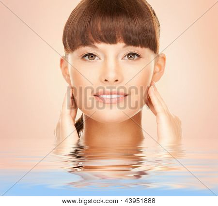 bright picture of lovely woman over beige