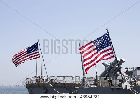 STATEN ISLAND, NEW YORK - MAY 29:Harpoon cruise missile launchers on the deck of US Navy destroyer