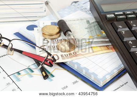 Calculator, Charts, Pen, Glass, Money, Notes, Workplace Businessman, Business