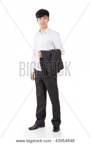 Asian businessman put coat on his hand, full length portrait isolated on white background.