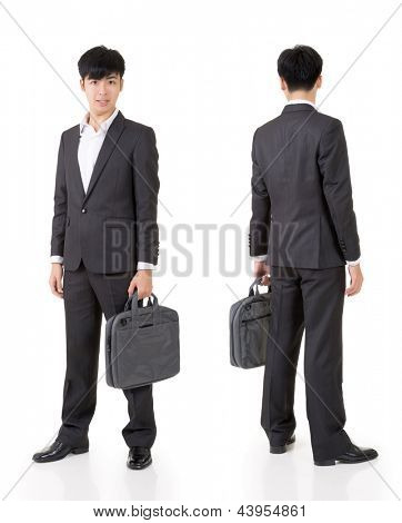 Young handsome businessman of Asian, full length portrait isolated on white background with front and rear view.