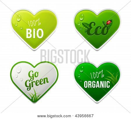 Set Of Bio, Eco, Organic Heart Sticker Elements
