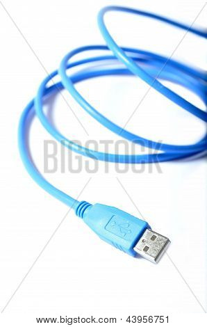 Blue Usb Cable On Wite Background
