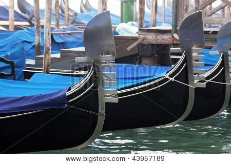 Venice - detail of gondolas