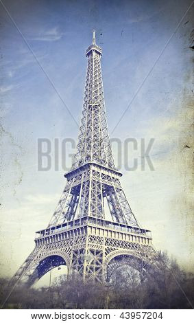 Vintage photo of Eiffel Tower, Paris, France