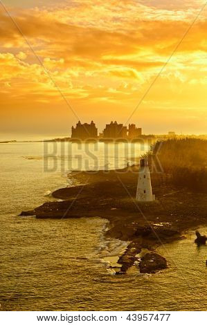 nassau, bahamas and lighthouse at dawn