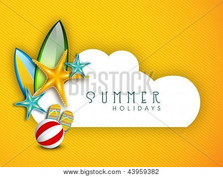 Summer Holidays background with shiny starfish, flip flops and ball with space for your message.