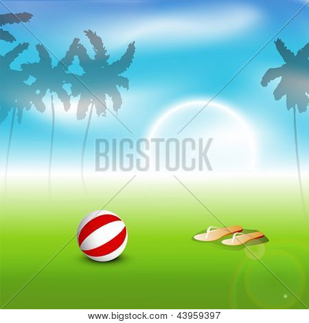Beautiful summer evening background with flip flops, ball and palm trees.