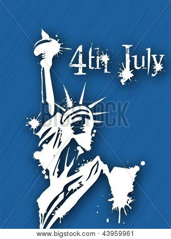 4th of July Happy Independence Day background with statue of liberty.