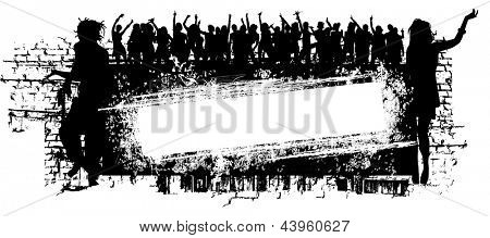 grunge music background with people silhouette