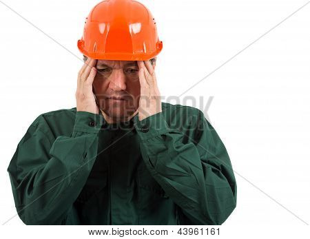 Old Worker Having A Migraine Isolated On White  Background