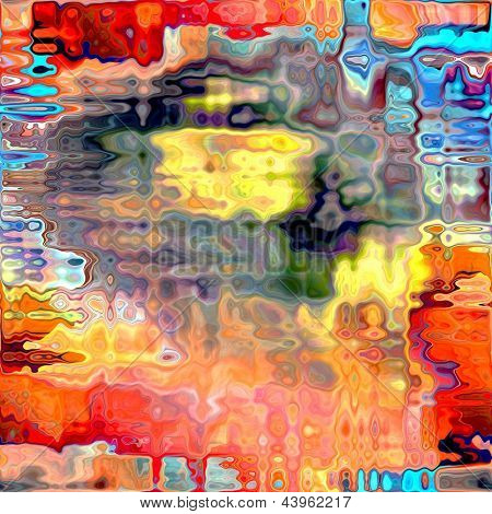 art abstract chaos textured bright rainbow background with red and peach blots