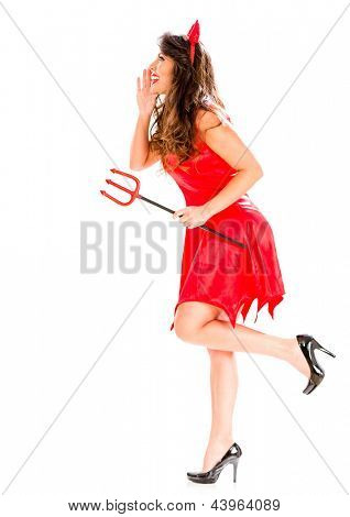 Female devil telling a secret - isolated over a white background