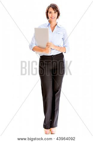 Successful business woman holding a laptop - isolated over white