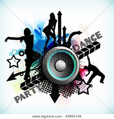 Dance party background with silhouette of dancing peoples and loud speakers background.