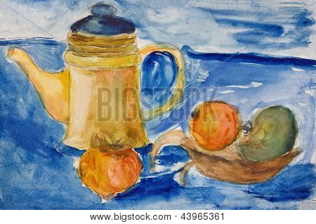 Still Life With Kettle and Apples