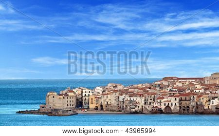 Houses along the shoreline in Cefalu, Sicily