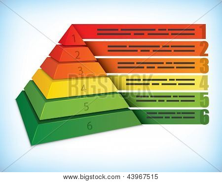 Pyramidal presentation template with six step, can be used for ecology and other marketing concepts
