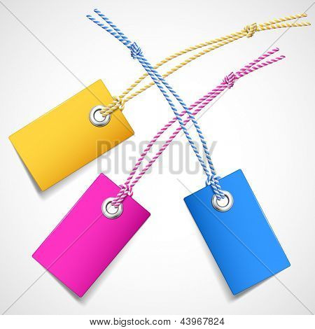 Illustration of colored price tags on a white background
