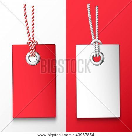 Two red and white price tag. Vector design elements