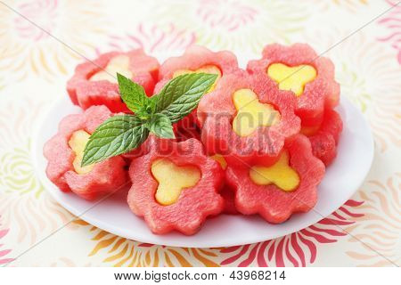 watermelon flowers as a dessert - fruits and vegetables /shallow DOFF/