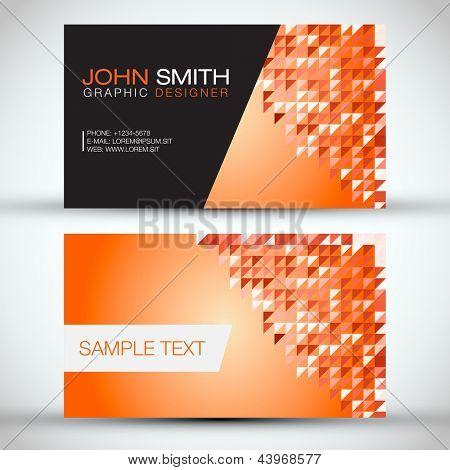 Orange Mosaic Modern Business Card Set | EPS10 Vector Design