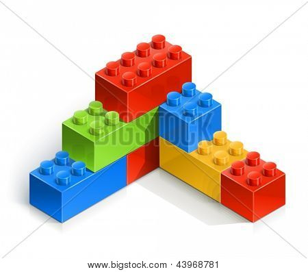 brick wall meccano toy vector illustration isolated on white background EPS10. Transparent objects and opacity masks used for shadows and lights drawing