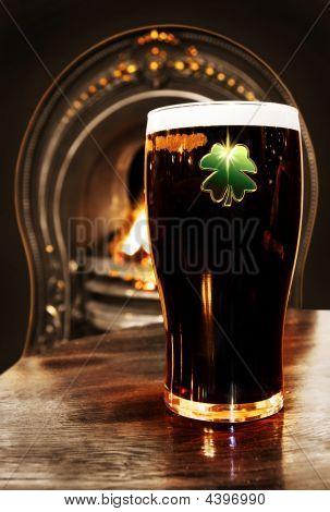 Saint Patrick's Irish Black Beer Inside A Dublin Pub