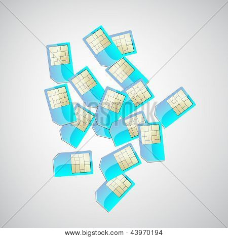 Top View Of A Pile Of Sim Cards