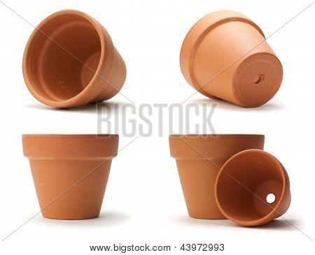 Unused Clay Pot Over White