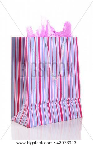 Striped shopping bag isolated on white