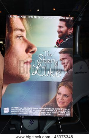 """LOS ANGELES - APR 2:  Story Of Luke Poster at """"The Story Of Luke"""" Los Angeles Premiere at the Music Hall Theater on April 2, 2013 in Beverly Hills, CA"""