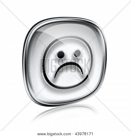 Smiley Dissatisfied Grey Glass, Isolated On White Background.