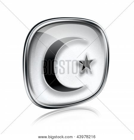Moon And Star Icon Grey Glass, Isolated On White Background.