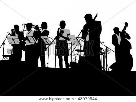 drawing jazz musicians on the stage