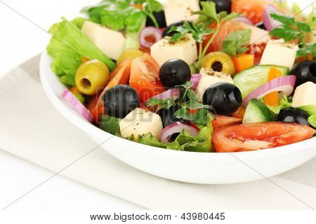 Greek salad in plate close up