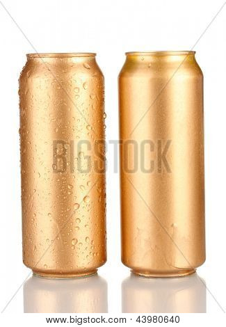 Aluminum cans with water drops isolated on white