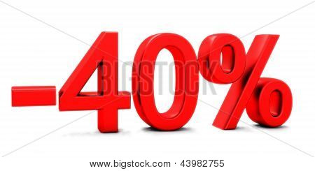 3D rendering of a 40 per cent in red letters on a white