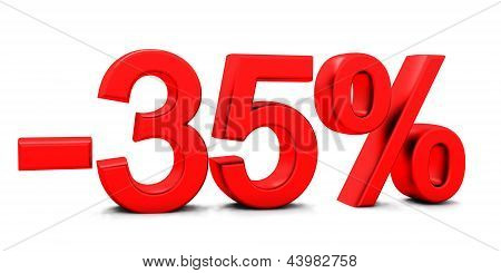 3D rendering of a 35 per cent in red letters on a white