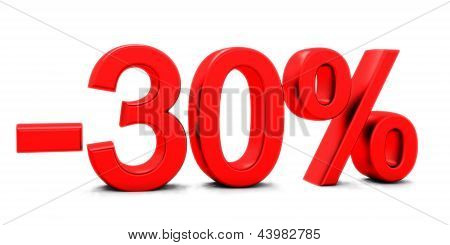 3D rendering of a 30 per cent in red letters on a white
