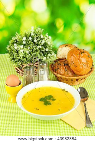 Fragrant soup in white plate on green tablecloth on natural background close-up