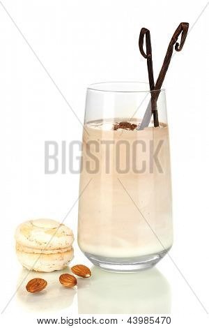 Glass of chocolate-cream cocktail isolated on white