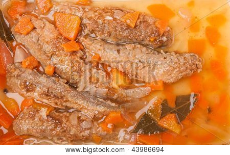 Juicy Snack A Roast Pickled Smelt With Carrot