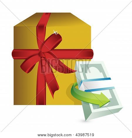 Monetary Present Gift Illustration