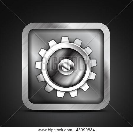 Mobile app icon - metallic gear design. Setting, setup, controls concept